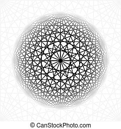 Abstract background with intersecting geometric shapes. Rotating star geometry.