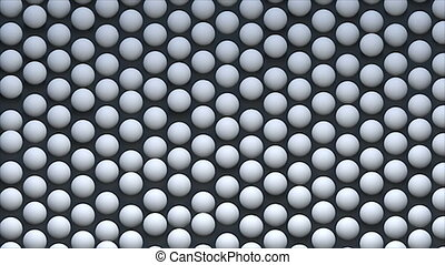 Abstract background with isometric spheres on surface, 3d rendering