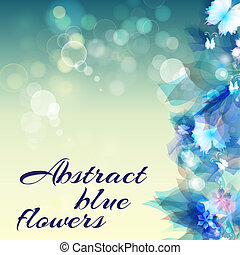 Abstract background with light blue abstract flowers