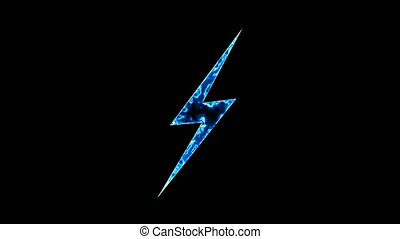 Abstract background with lighting bolt sign. Icon on black...