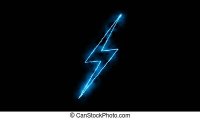 Abstract background with lighting bolt sign. Icon on black background