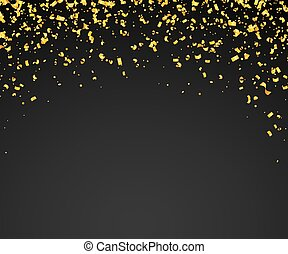 Abstract background with many falling golden tiny confetti ...