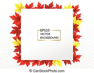Abstract background with maple frame of autumn for design and decor , vector illustration, eps 10 with transparency