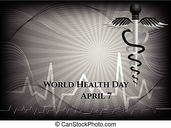 Abstract background with medical symbols. World Health day. Caduceus