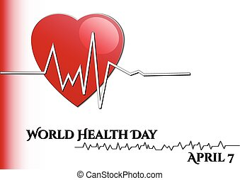 Abstract background with medical symbols. World Health day. Heart with rhythm