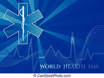 Abstract background with medical symbols. World Health day. Star of Life
