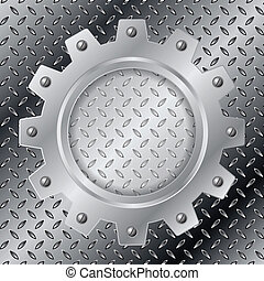 Abstract background with metallic cogwheel - Abstract...