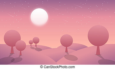 Abstract background with moon and mountain