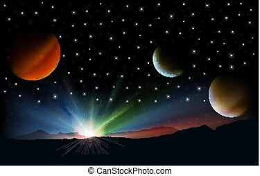 abstract background with mountain stars and sunrise