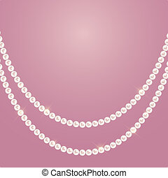 Abstract background with natural pearl garlands of beads. illustration