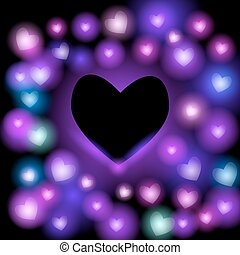 Abstract background with neon hearts on black background. Bright and contemporary card design vector