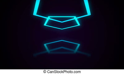 Abstract background with neon polygon. Seamless loop