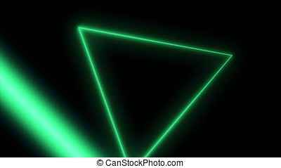 Abstract background with neon triangles. Seamless loop. Neon...