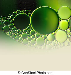 Abstract background with oil drops on water, macro with ...