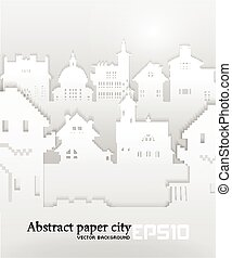 Abstract background with old building 3D Paper