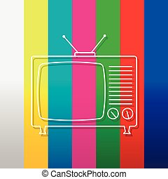 Abstract background with old tv and antenna  browse tv shows