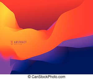 abstract background with orange and blue 3d wavy shapes