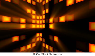 Abstract background with orange disco room. 3d rendering
