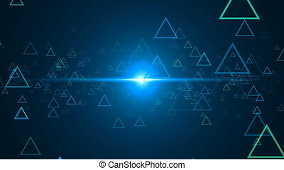Abstract background with outline triangles. Seamless loop