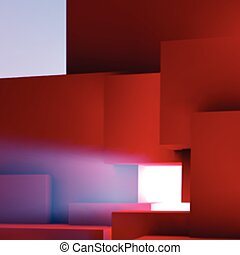 Abstract background with overlapping geometric cubes