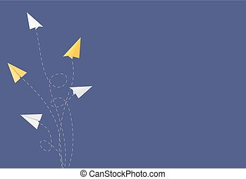 Abstract Background with Paper Airplane Changing Direction Vector Illustration