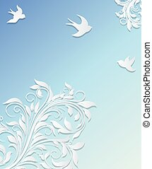 Abstract background with paper flowers and birds.