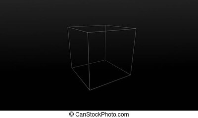 Abstract background with particles and plexus. Cube