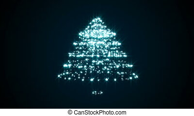 Abstract background with particles christmas tree