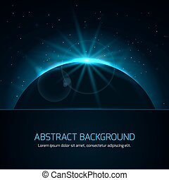 Abstract background with planet and stars on night sky