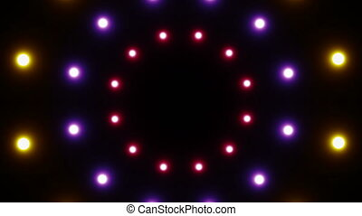 Abstract background with radial lights. Seamless loop