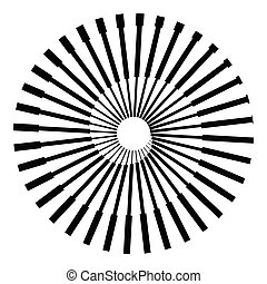 Abstract background with radial lines. Logo or icon in yin and yang style.
