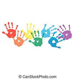 Abstract background with rainbow colored handprints