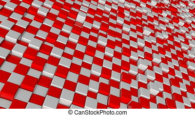 Abstract background with red and white squares blocks