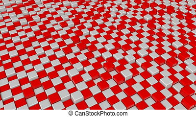 Abstract background with red and white squares blocks....