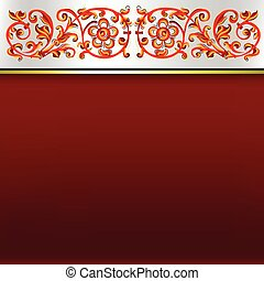 abstract background with red floral ornament on white