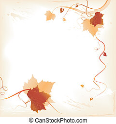 Abstract background with red golden foliage and swirls