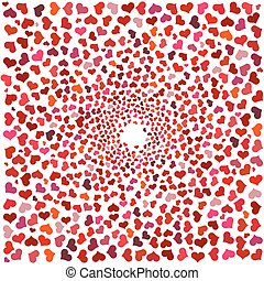 Abstract background with red hearts. Swirling red hearts