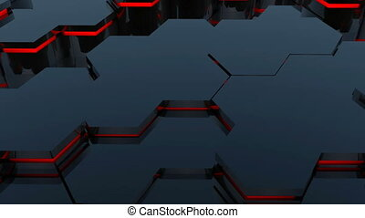 Abstract background with red hexagonal