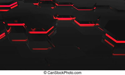 Abstract background with red hexagons