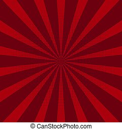Abstract background with red sun rays. Vector.