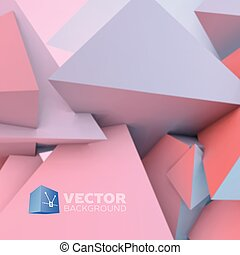 Abstract background with rose quartz and serenity pyramids