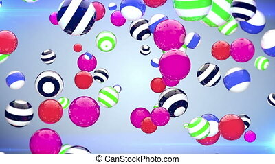 """Abstract background with rotating multi-colored balls"""