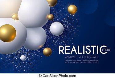 Abstract Background with Rtalistic 3D Structure. Flying Spheres.