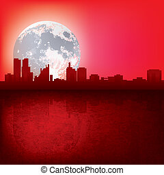 abstract background with silhouette of city and moon