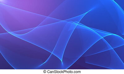 Abstract background with silk blue waves on violet background.