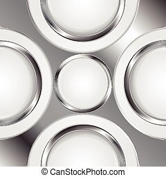 Abstract background with silver metal circles