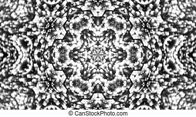 Abstract background with silver kaleidoscope. Seamless loop