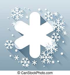 Abstract background with snowflakes in flat design style.