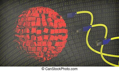 Abstract background with sphere, binary numbers and internet...