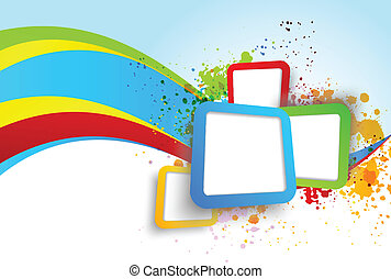 Abstract background with squares and wave